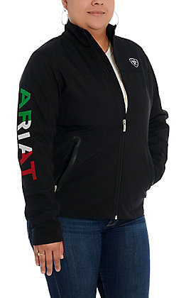 Ariat Women's Black with Mexico Flag Logo Team Softshell