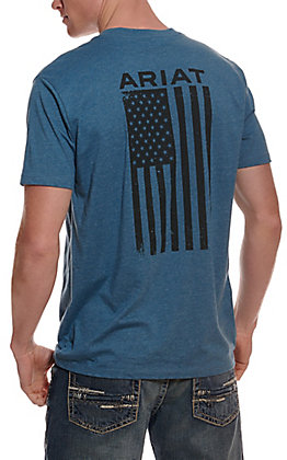 Ariat Men's Freedom Steel Blue with American Flag Graphic Short Sleeve Tee