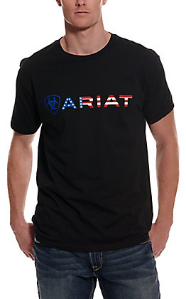 Ariat Men's Black American Flag Logo Short Sleeve T-Shirt