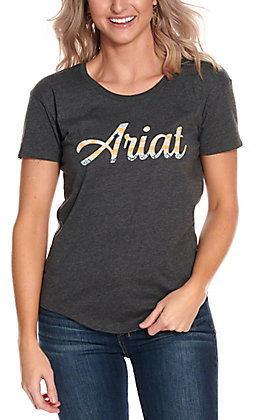 Ariat Women's Grey with Aztec Filled Logo Short Sleeve T-Shirt