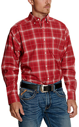 Ariat Men's Pro Series Tustin Red and White Plaid Long Sleeve Western Shirt