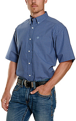 Ariat Men's Pro Series Temecula Blue and White Plaid Short Sleeve Western Shirt