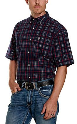 Ariat Men's Pro Series Turlock Navy, Red and White Plaid Short Sleeve Western Shirt
