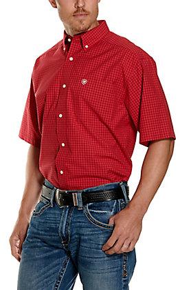 Ariat Men's Pro Series Tamalpais Red and White Plaid Short Sleeve Western Shirt