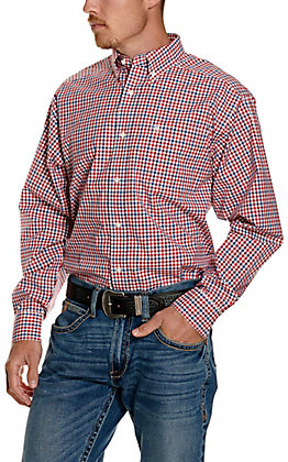 Ariat Men's Pro Series Tolland Red, White and Blue Plaid Long Sleeve Western Shirt