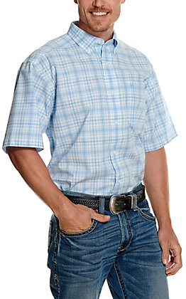 Ariat Men's Pro Series Thornton Light Blue & White Plaid Short Sleeve Stretch Western Shirt