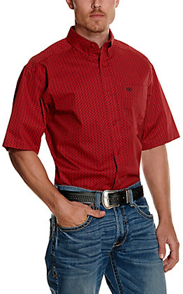 Ariat Men's Tamascal Red with Black Geo Print Short Sleeve Stretch Western Shirt
