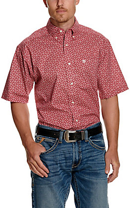 Ariat Men's Tillsmans Red with White Medallion Print Short Sleeve Stretch Western Shirt