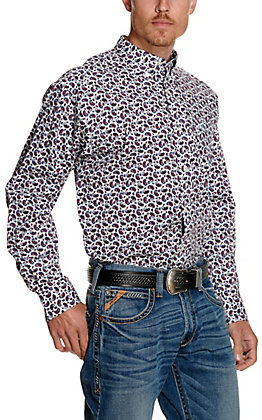Ariat Men's Talladega White with Blue and Red Paisley Print Long Sleeve Stretch Western Shirt