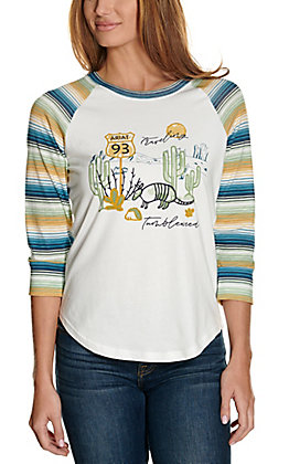 Ariat Women's Traveling Tumbleweed Graphic with Serape Raglan Sleeves Casual Knit Top