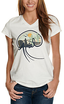 Ariat Women's REAL White Highway Logo Graphic V-Neck Short Sleeve T-Shirt