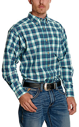 Ariat Men's Pro Series Roselle Navy and Turquoise Plaid Long Sleeve Western Shirt