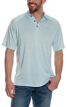 Ariat Men's Charger Crystal Blue Short Sleeve Polo Shirt