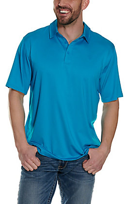 Ariat Men's Birdseye Nautilus Blue Dot Print Heat Series Polo Shirt