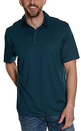Ariat Men's Birdseye Petroleum Green Dot Print Heat Series Polo Shirt