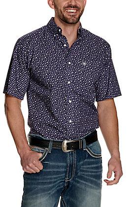 Ariat Men's Ulton Purple Paisley Print Wrinkle Free Short Sleeve Western Shirt