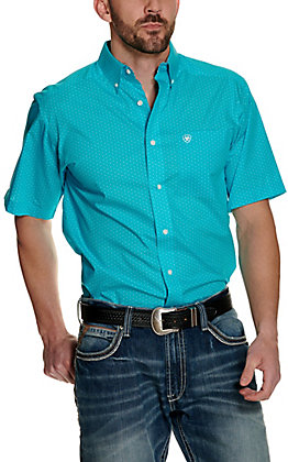 Ariat Men's Ulvaro Turquoise with Geo Circle Print Wrinkle Free Short Sleeve Western Shirt