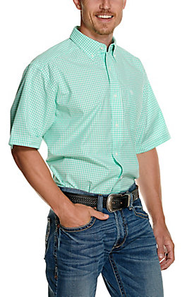 Ariat Men's Pro Series Rexbury White and Aqua Blue Plaid Short Sleeve Western Shirt