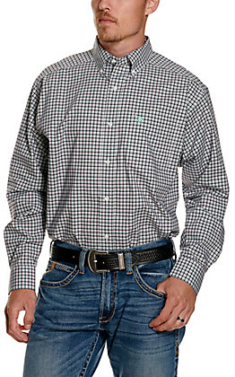 Ariat Men's Pro Series Ridgefield White with Purple and Turquoise Plaid Long Sleeve Western Shirt