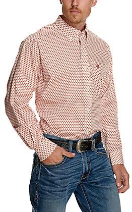 Ariat Men's Washington White with Rust Orange Aztec Print Wrinkle Free Long Sleeve Western Shirt