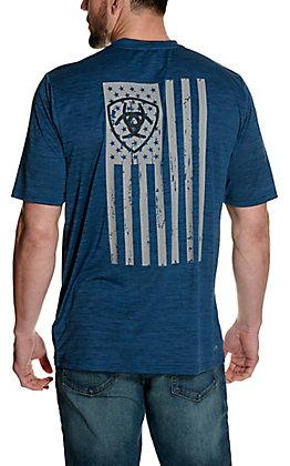 Ariat Men's Charger Blue Pine Flag Logo Short Sleeve TEK Tee