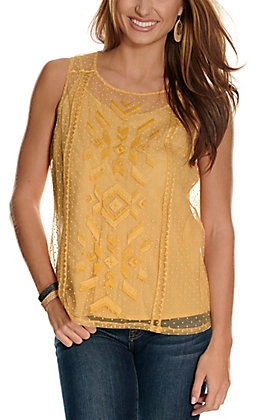 Ariat Women's Mesh with Me Gold Aztec Embroidered Fashion Tank Top