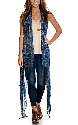 Ariat Women's Milly Blue and White Print Fringe Scarf Vest