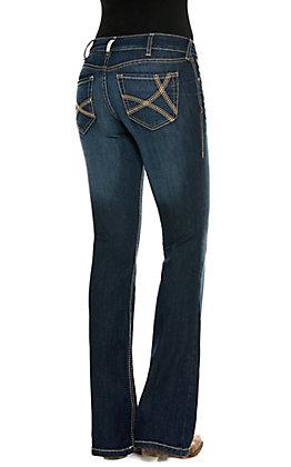 Ariat Women's R.E.A.L Remi Dark Wash Mid Rise Boot Cut Jeans