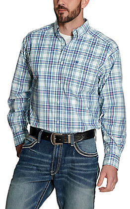 Ariat Men's Pro Series Gomes Turquoise with Blue and Pink Plaid Long Sleeve Western Shirt