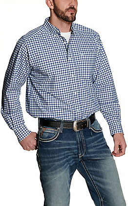 Ariat Men's Pro Series Gene White and Blue Plaid Long Sleeve Stretch Western Shirt
