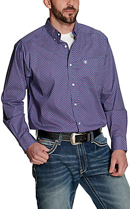 Ariat Men's Gaudry Blue with White and Pink Geo Print Long Sleeve Stretch Western Shirt