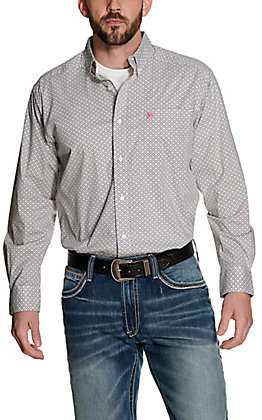 Ariat Men's Randall White with Grey and Pink Aztec Print Long Sleeve Stretch Western Shirt