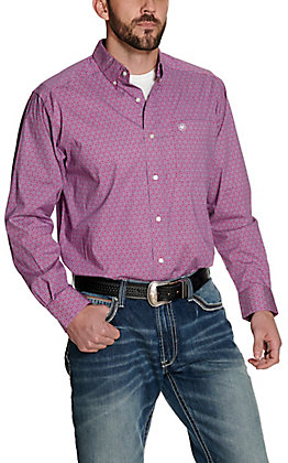 Ariat Men's Caidan Magenta Pink with Floral Print Long Sleeve Stretch Western Shirt