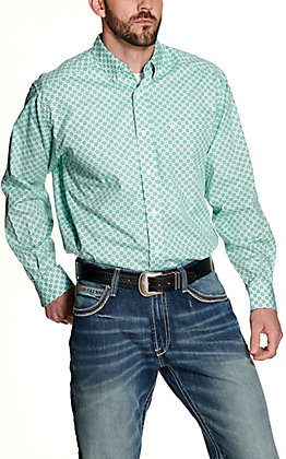 Ariat Men's Fleetwood Turquoise with Green and White Medallion Print Wrinkle Free Long Sleeve Western Shirt