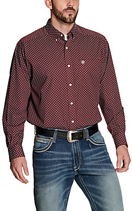 Ariat Men's Maklin Maroon with Blue and White Print Wrinkle Free Long Sleeve Western Shirt - Big & Tall