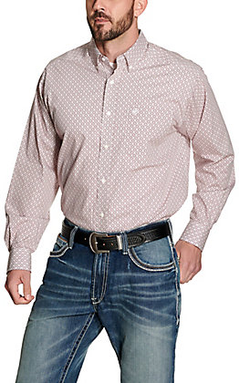 Ariat Men's Painton White with Maroon and Teal Medallion Print Wrinkle Free Long Sleeve Western Shirt
