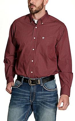 Ariat Men's Vacini Burgundy Plaid Wrinkle Free Long Sleeve Western Shirt