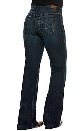 Ariat Women's Lesli Dark Wash Mid Rise Wide Trouser Leg Jean