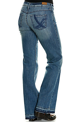Ariat Women's Whitney Avalon Medium Wash Raw Hem Trouser Jeans