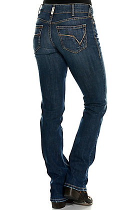 Ariat Women's REAL Julia Arkansas Medium Wash Arrow Fit Straight Leg Jeans