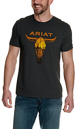 Ariat Men's Charcoal Grey with Desert Skull Logo Graphic Short Sleeve T-Shirt