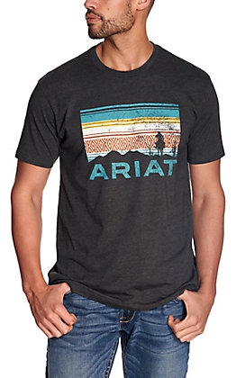 Ariat Men's Heather Charcoal Serape Desert Sunset Logo Short Sleeve T-Shirt