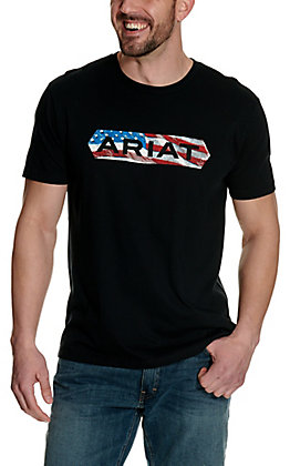 Ariat Men's Black with Flag Logo Graphic Short Sleeve T-Shirt