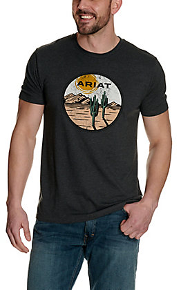 Ariat Men's Charcoal Grey with Mirage Desert Logo Graphic Short Sleeve T-Shirt