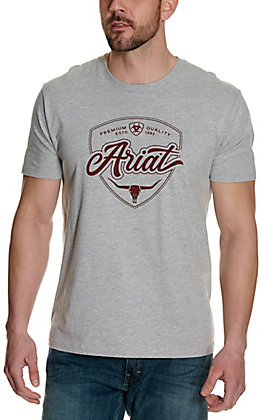 Ariat Men's Grey with Maroon Skull Logo Graphic Short Sleeve T-Shirt