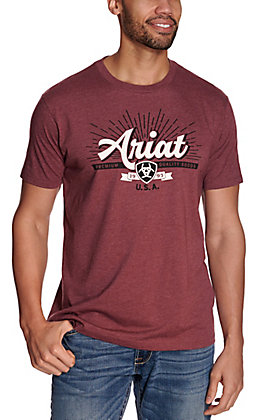 Ariat Men's Heather Burgundy Premium Quality Goods Logo Short Sleeve T-Shirt