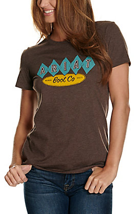 Ariat Women's Heather Brown Desert Motel Logo Graphic Short Sleeve T-Shirt