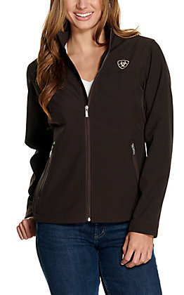 Ariat Women's Team Coffee Brown and Leopard Logo Softshell Jacket