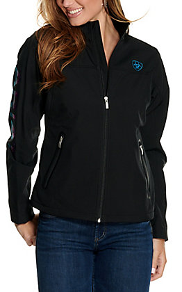 Ariat Women's Team Black and Serape Logo Softshell Jacket