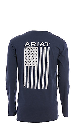 Ariat Men's Navy Freedom Long Sleeve Graphic T-Shirt